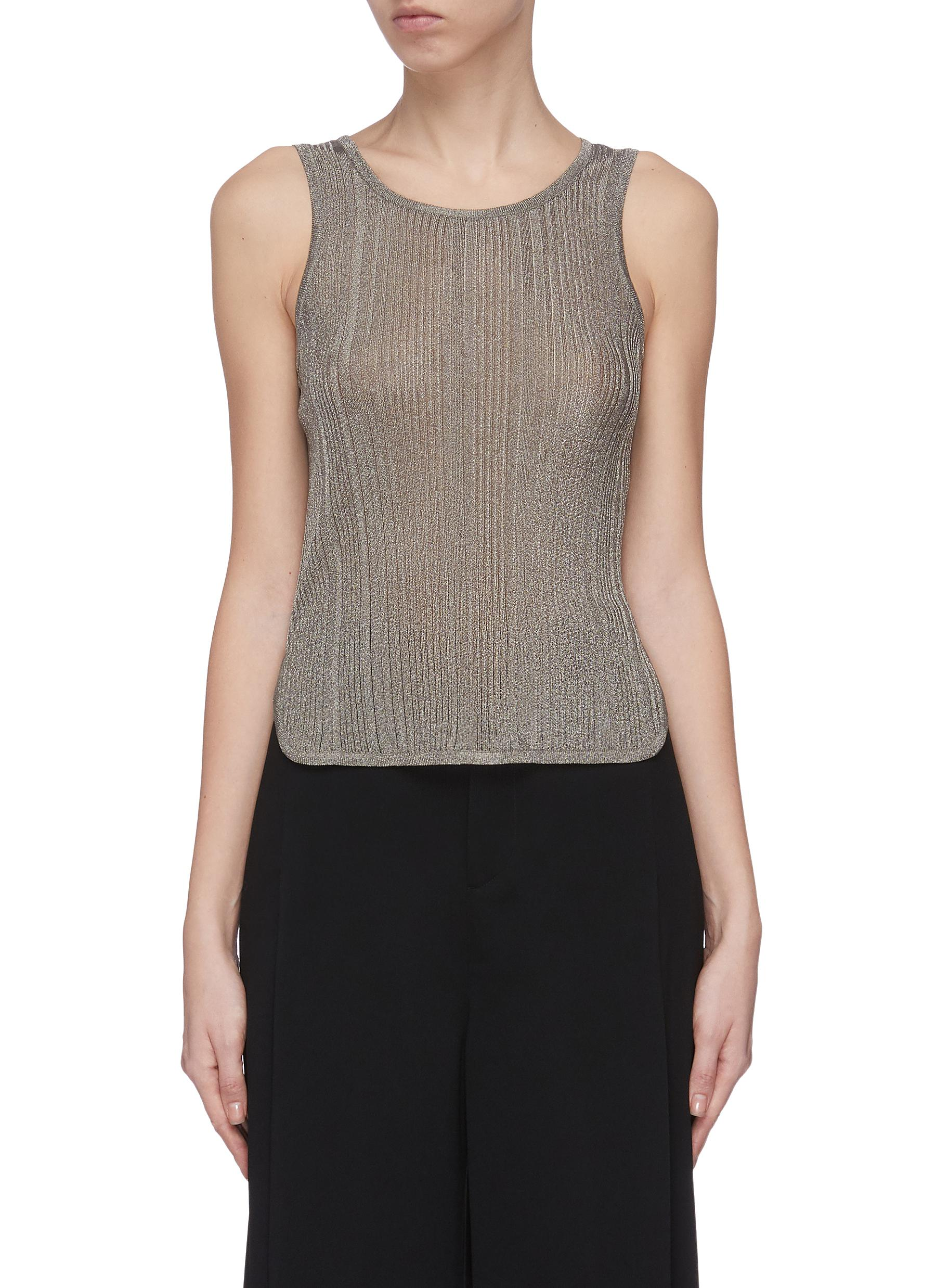 Buy The Row Tops 'Ciela' sheer metallic rip knit tank top