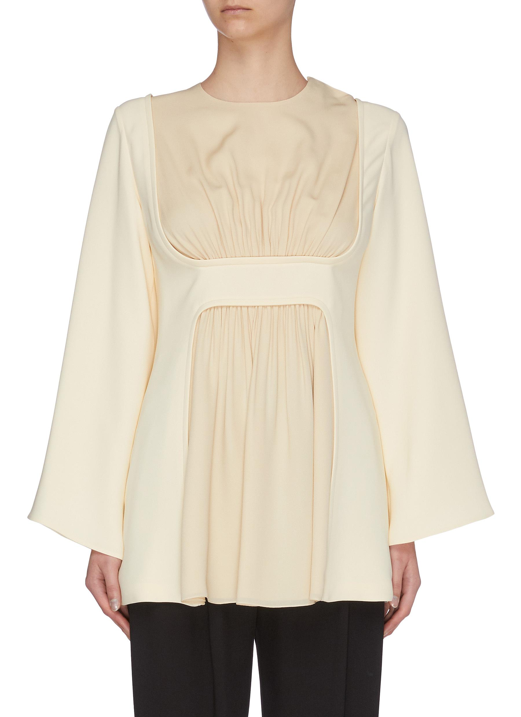Buy The Row Tops 'Polina' gathered panel silk crepe top