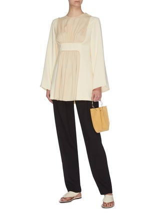 Figure View - Click To Enlarge - THE ROW - 'Polina' gathered panel silk crepe top