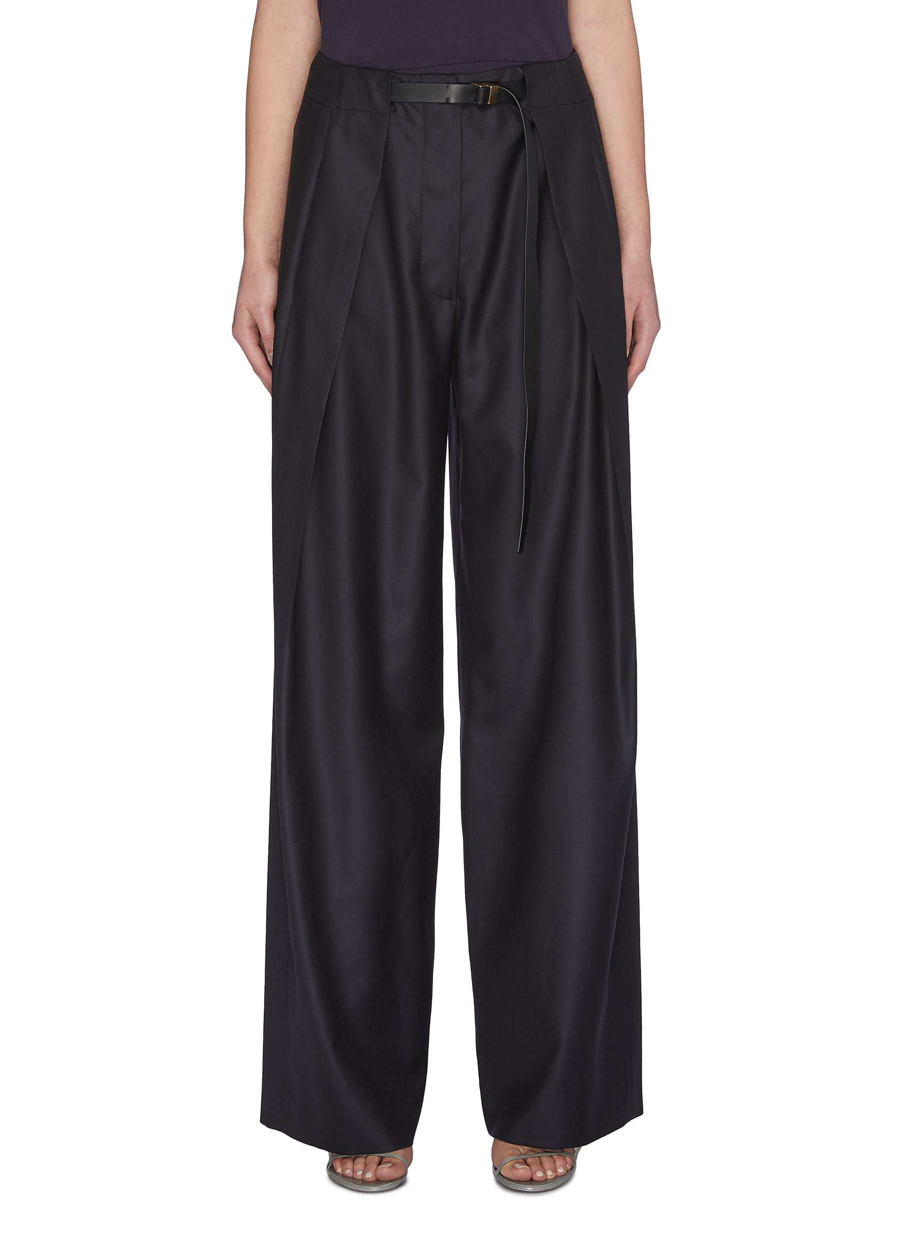 Buy The Row Pants & Shorts 'Brona' belted virgin wool crepe wide leg pants