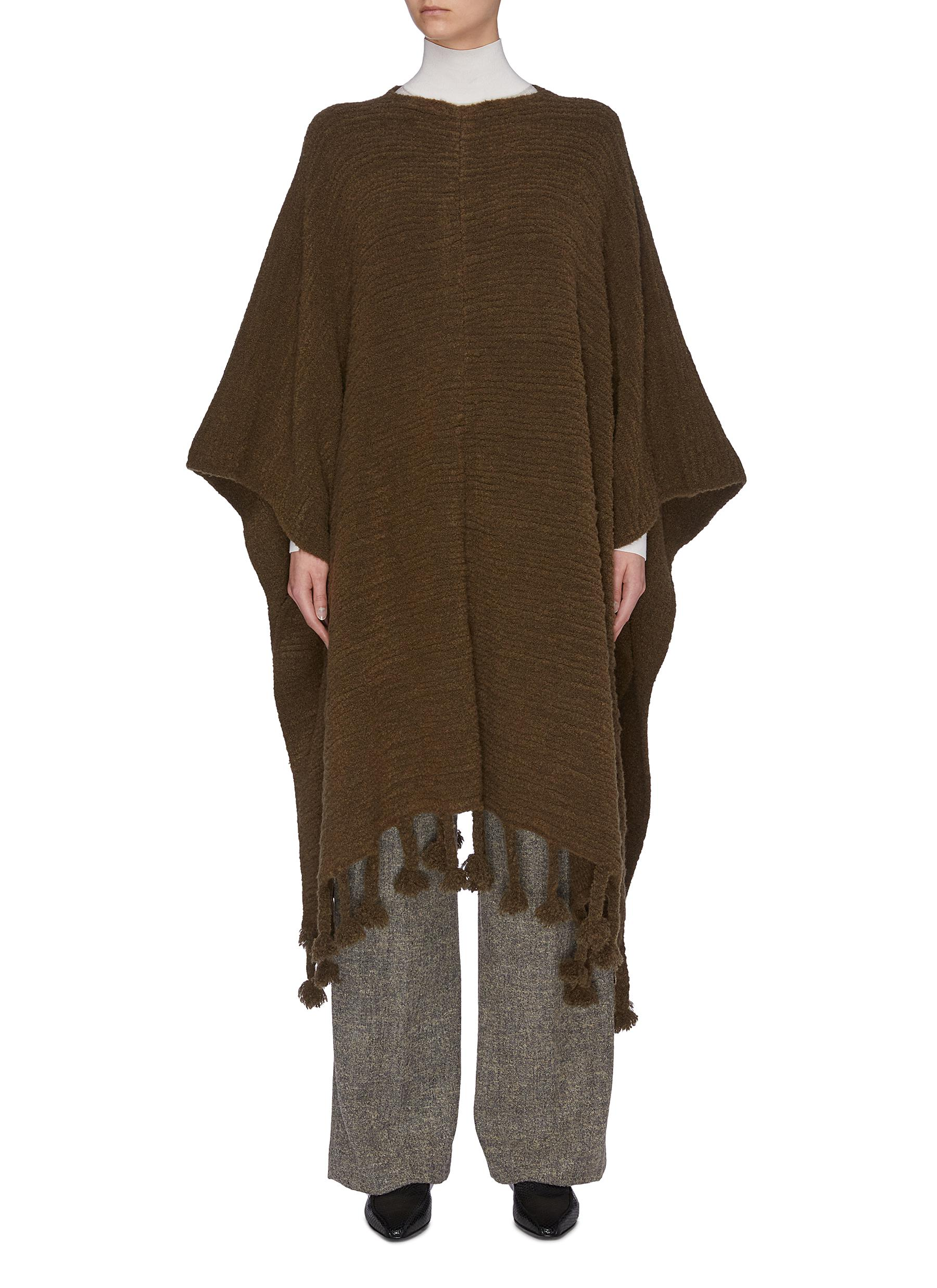 Buy The Row Jackets 'Follain' tassel hem bouclé poncho cape