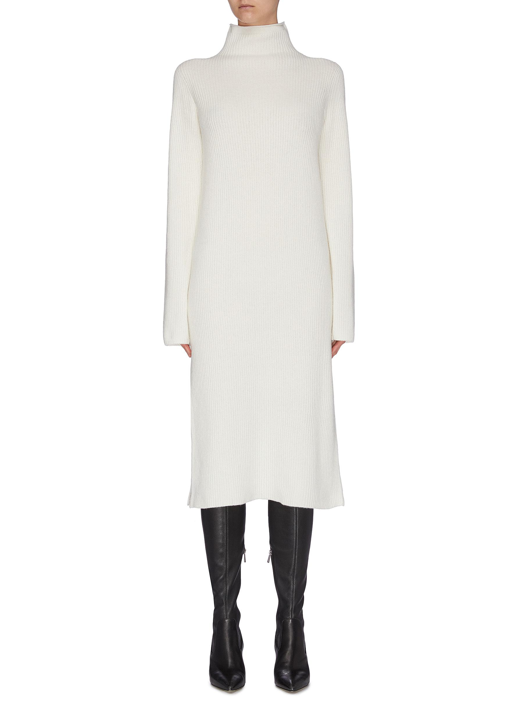 Buy The Row Dresses 'Moa' high neck wool-cashmere rib knit dress