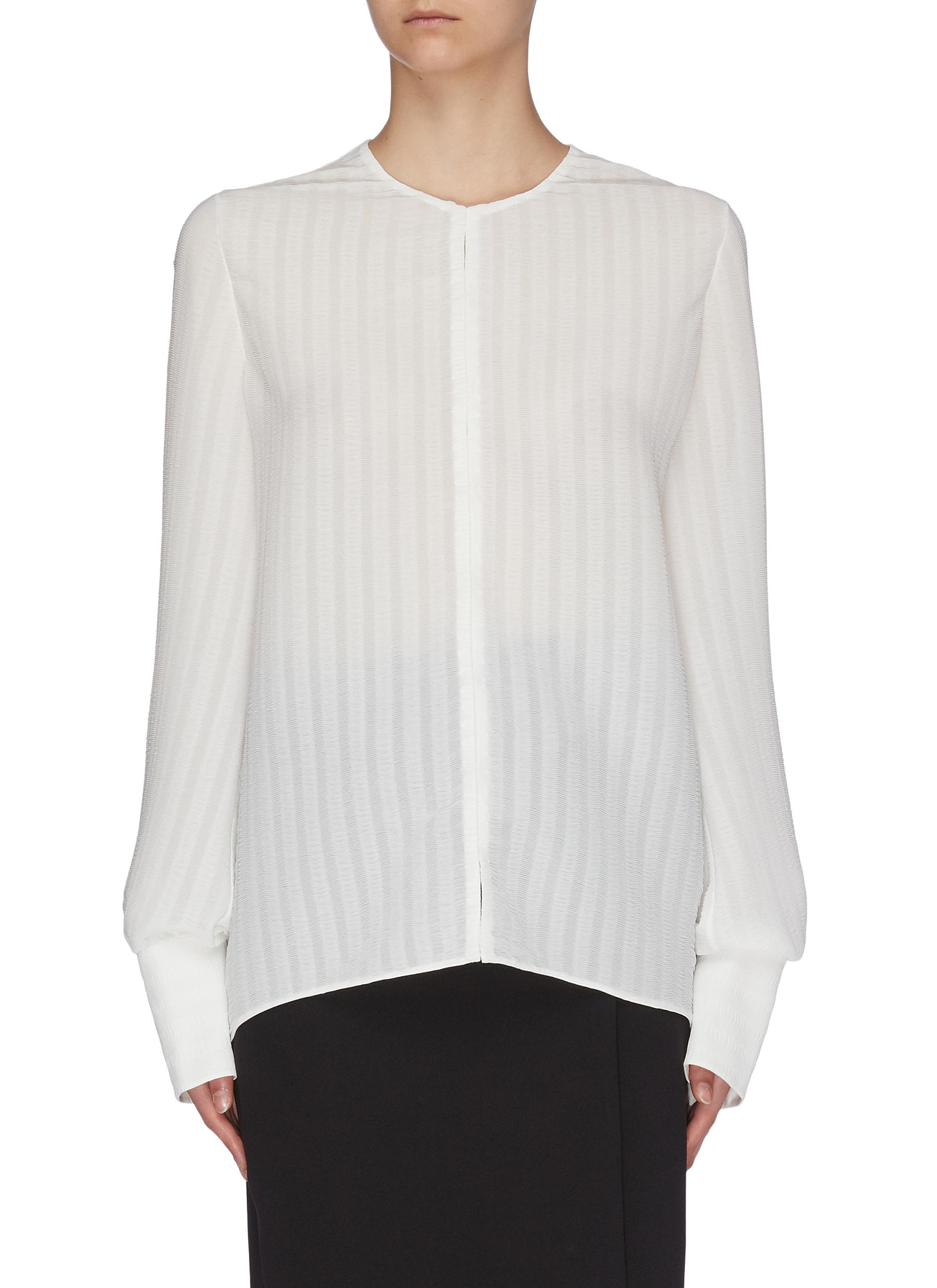 Buy The Row Tops 'Bruna' textured stripe blouse