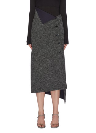 Main View - Click To Enlarge - THE ROW - 'Verna' asymmetric foldover button front midi skirt