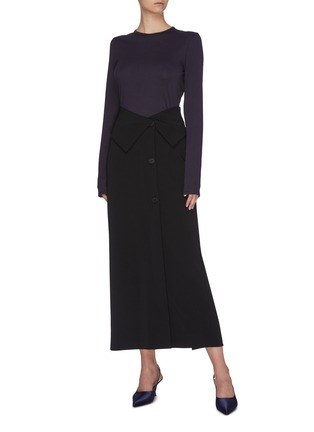 Figure View - Click To Enlarge - THE ROW - 'Pillar' foldover button front midi skirt