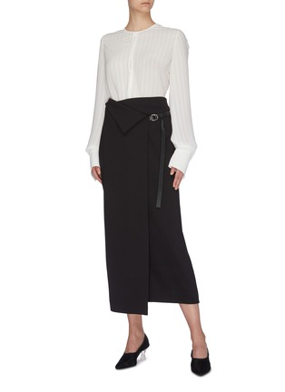 Figure View - Click To Enlarge - THE ROW - 'Ogechi' foldover D-ring wrap midi skirt