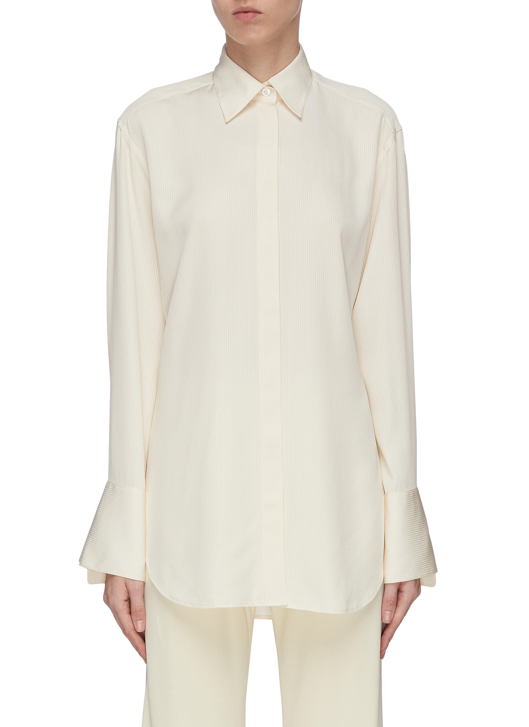 Buy The Row Tops 'Cody' enlarged cuff silk shirt