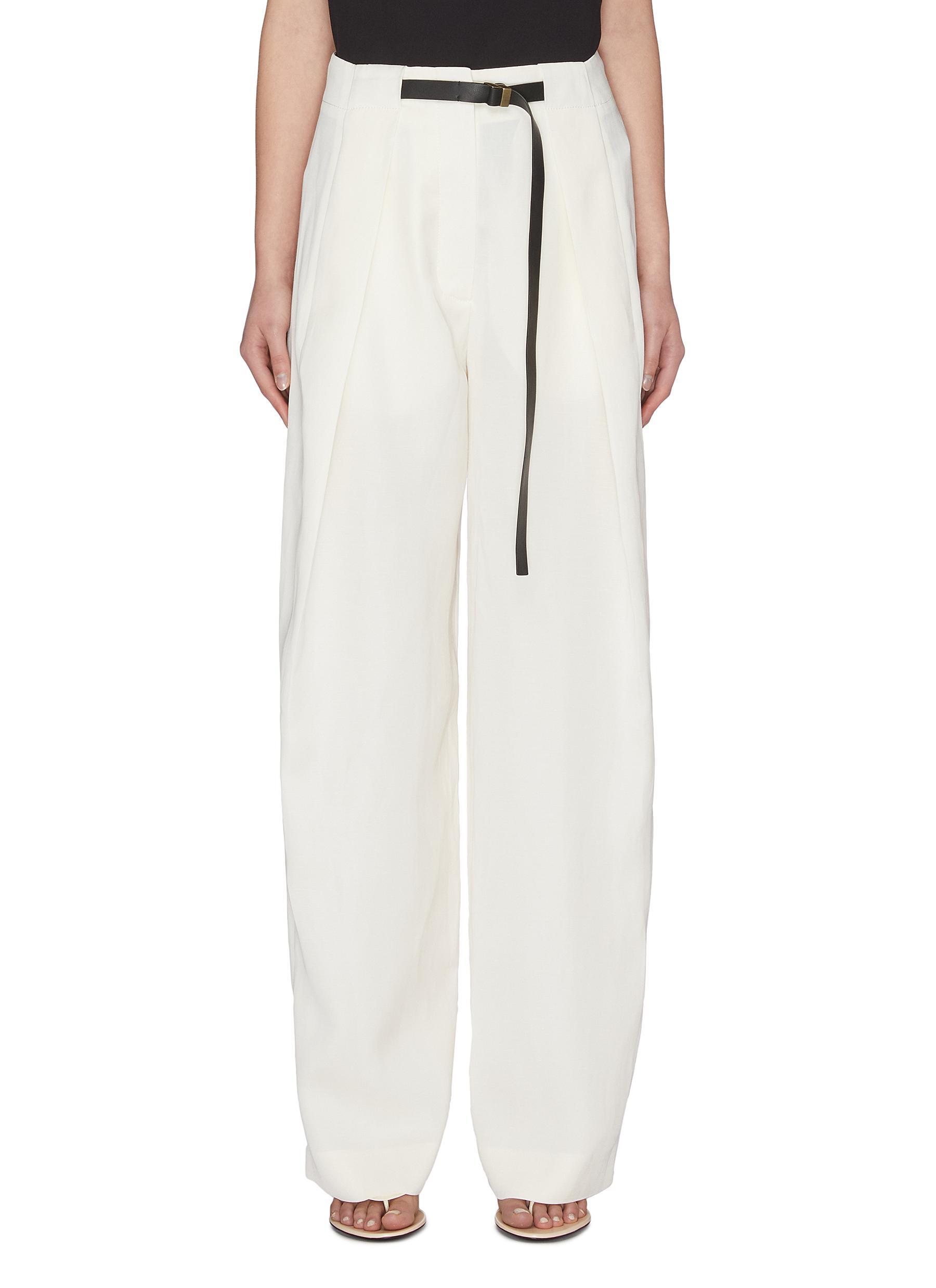 shop The Row Brona' belted silk-linen wide leg pants online