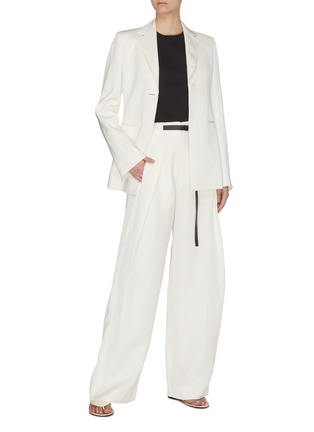 Figure View - Click To Enlarge - THE ROW - Brona' belted silk-linen wide leg pants