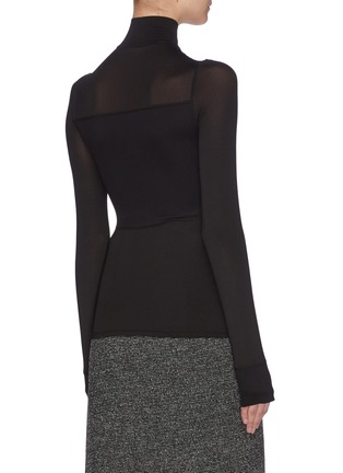 Back View - Click To Enlarge - THE ROW - 'Maytas' scuba sheer panelled mock neck top