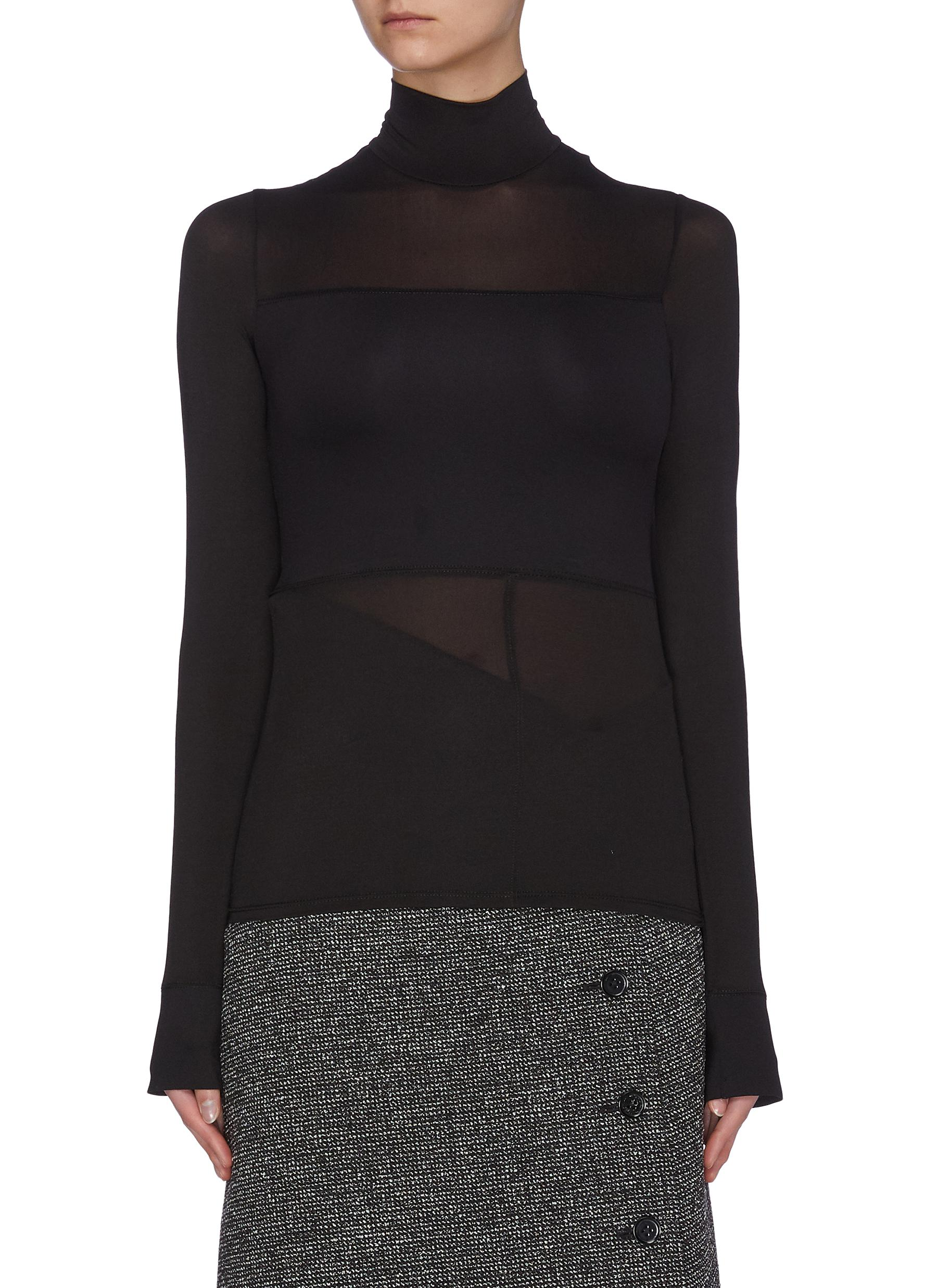 Buy The Row Tops 'Maytas' scuba sheer panelled mock neck top