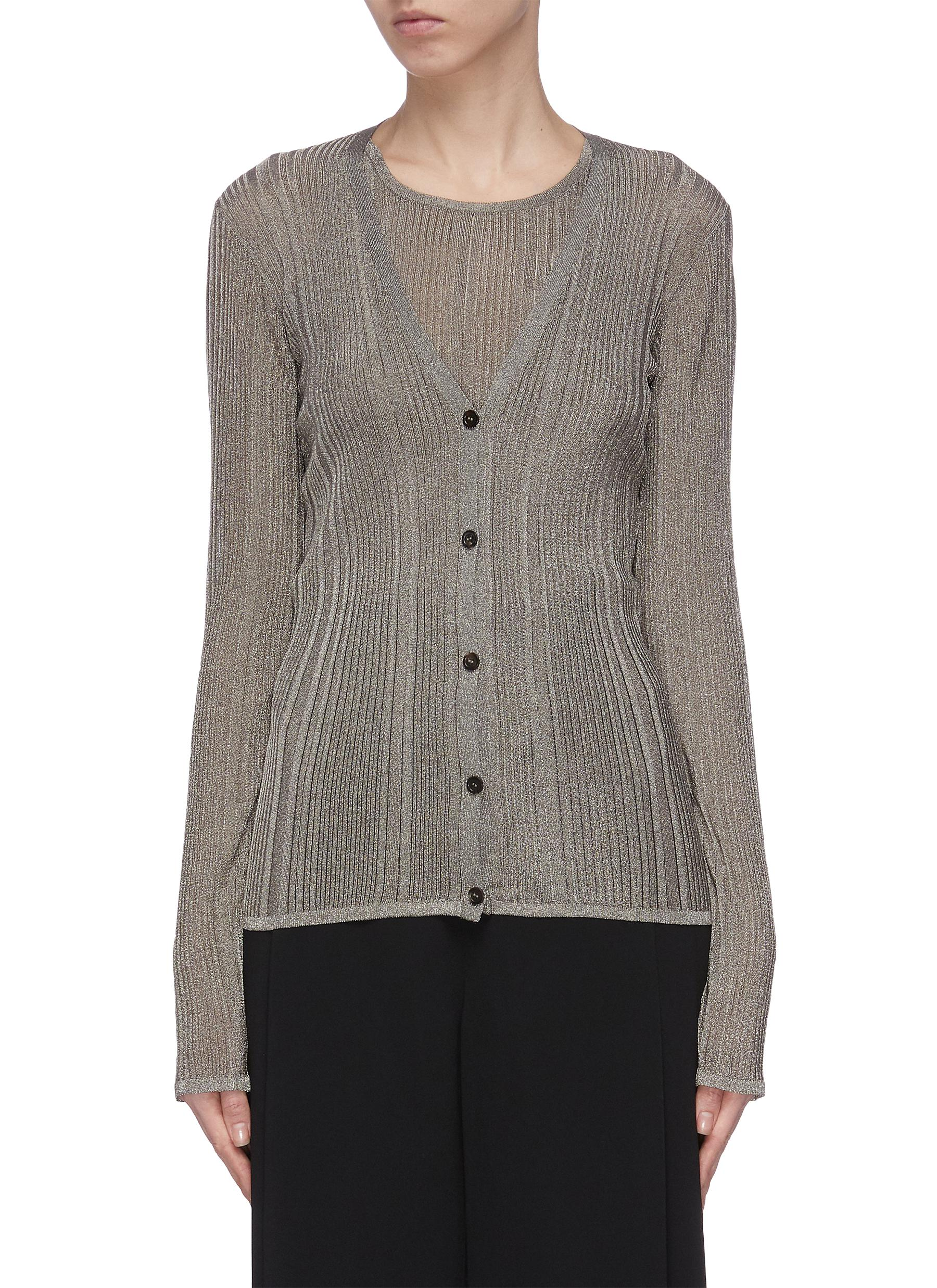 shop The Row 'Obasi' sheer metallic rib knit cardigan online