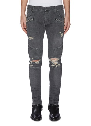 Main View - Click To Enlarge - BALMAIN - 'Destroy' distressed rib panel jeans