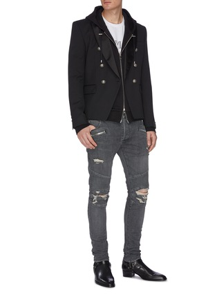 Figure View - Click To Enlarge - BALMAIN - 'Destroy' distressed rib panel jeans