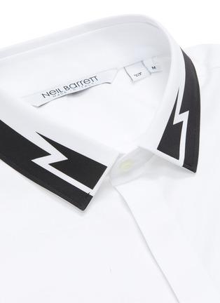 - NEIL BARRETT - Thunderbolt print collar poplin shirt
