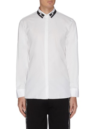 Main View - Click To Enlarge - NEIL BARRETT - Thunderbolt print collar poplin shirt