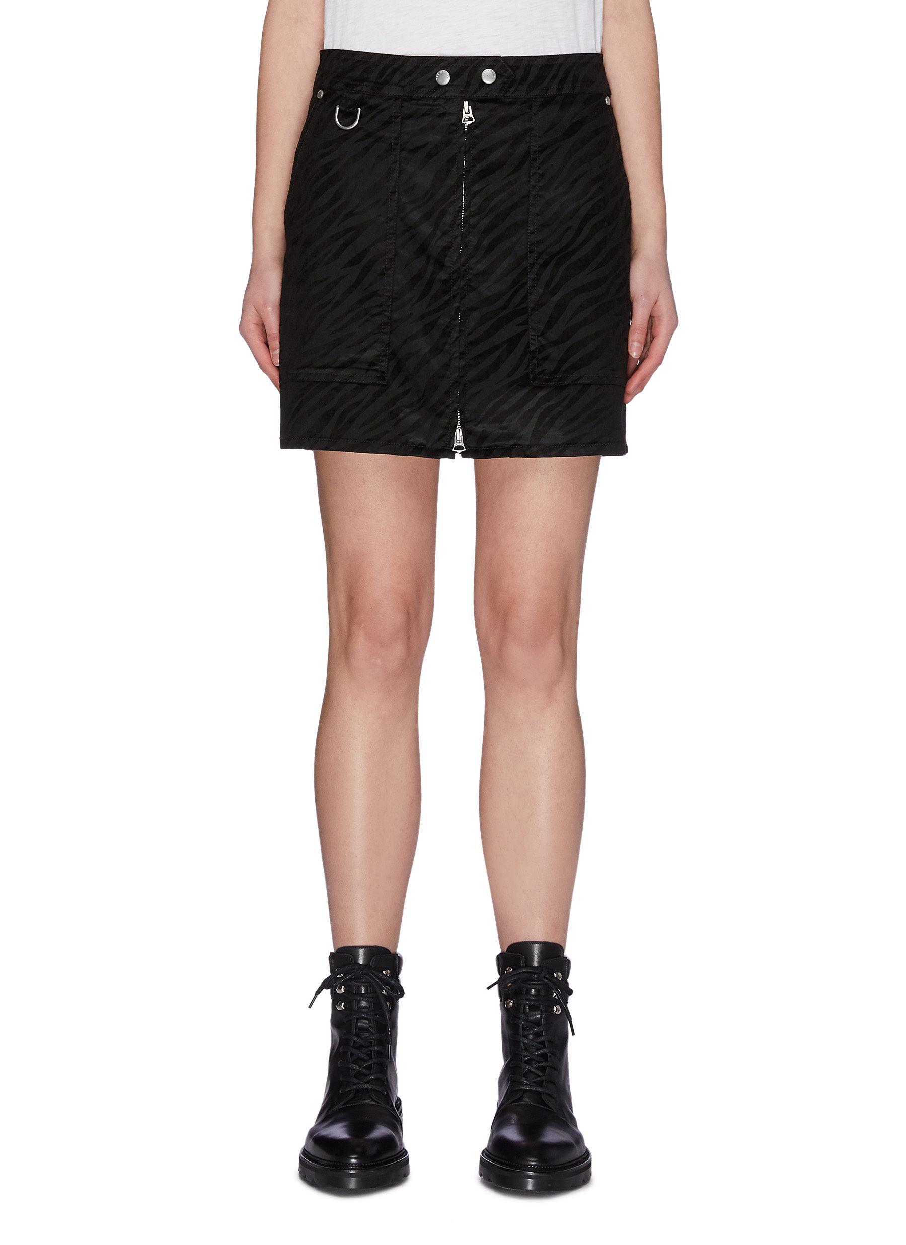 shop Rag & Bone/Jean Zebra print patch pocket front zip biker skirt online