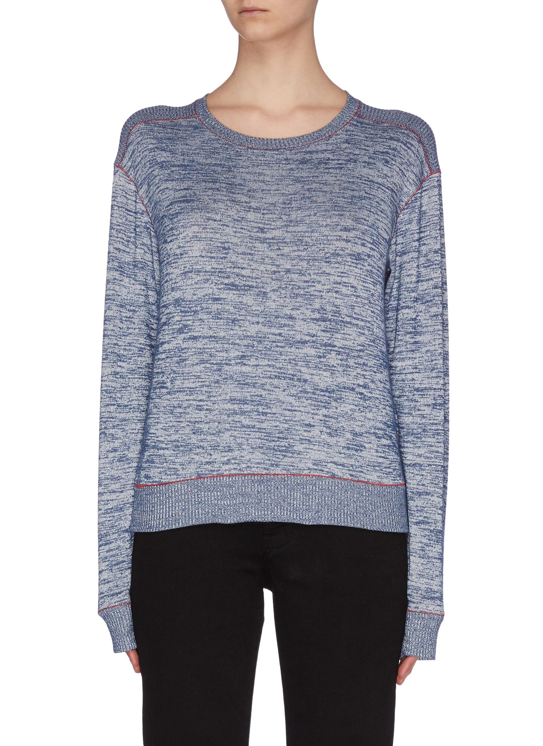 Buy Rag & Bone/Jean Knitwear 'Avryl' rib shoulder contrast topstitch sweatshirt