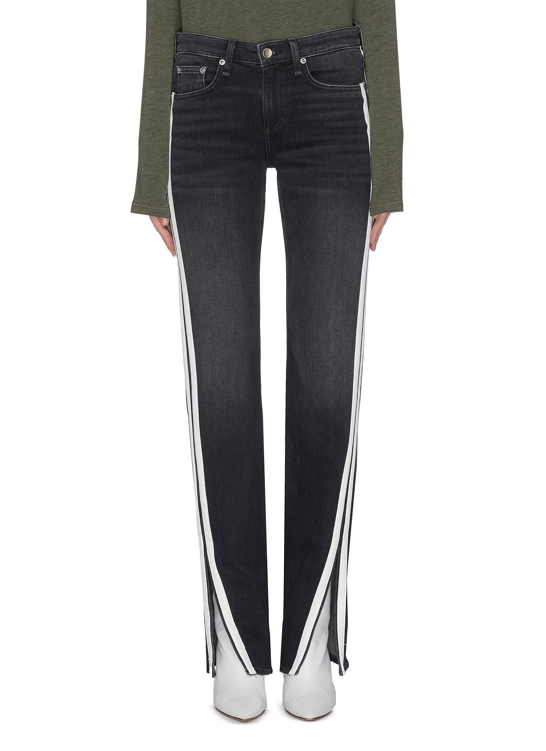 Buy Rag & Bone/Jean Jeans 'Cate' contrast panel slit hem skinny jeans
