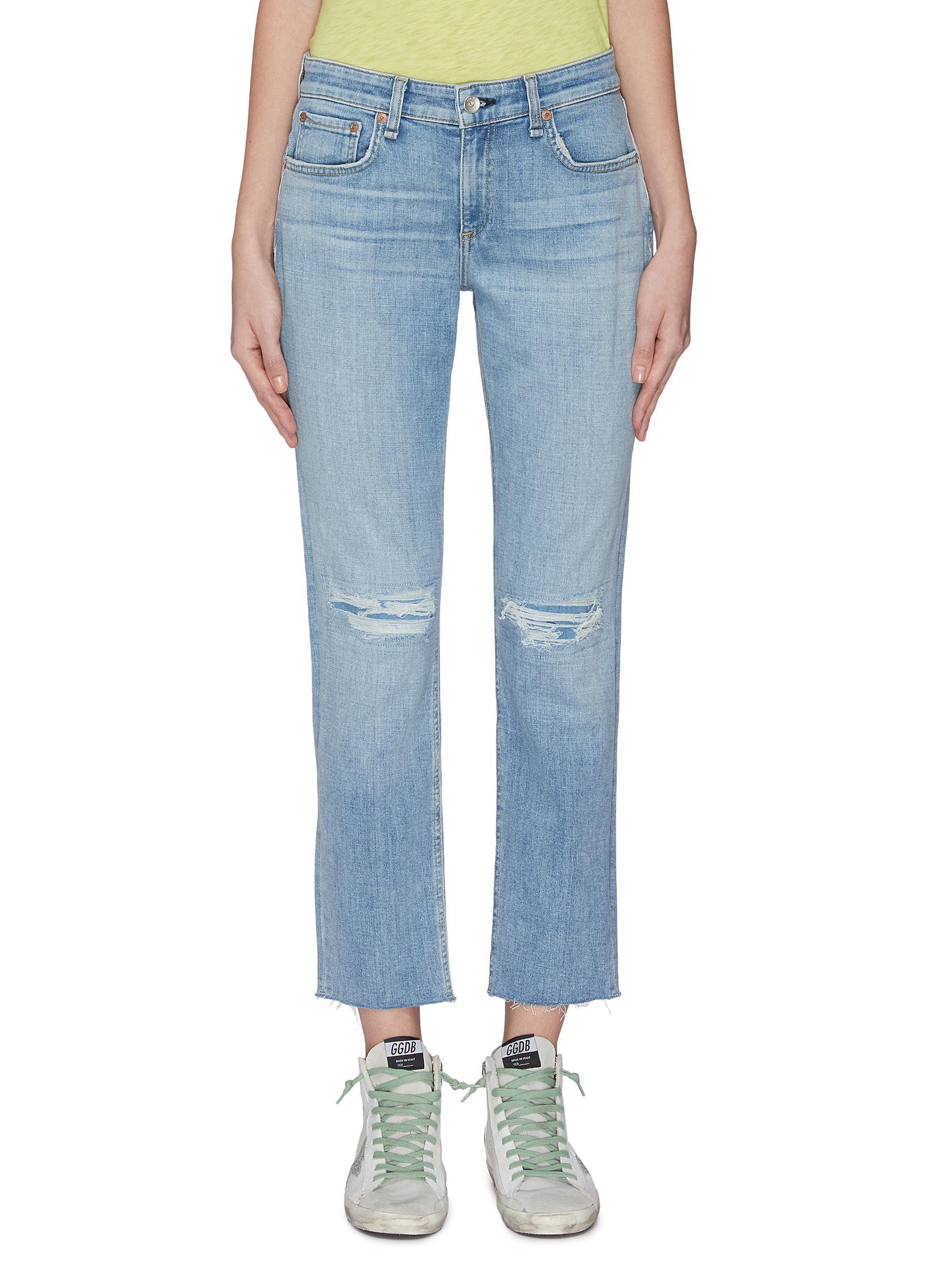 Buy Rag & Bone/Jean Jeans Rip knee slim boyfriend jeans