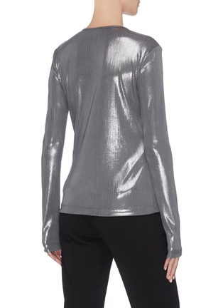 Back View - Click To Enlarge - ZAID AFFAS - Metallic crewneck long sleeve top