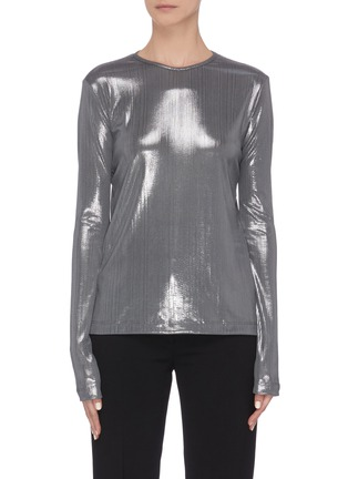 Main View - Click To Enlarge - ZAID AFFAS - Metallic crewneck long sleeve top