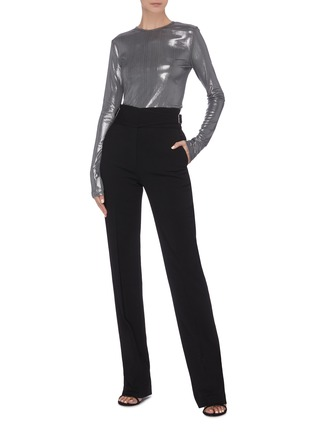 Figure View - Click To Enlarge - ZAID AFFAS - Metallic crewneck long sleeve top