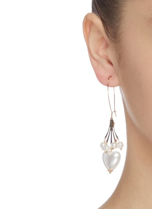Figure View - Click To Enlarge - KENNETH JAY LANE - Faux pearl heart shaped drop earrings