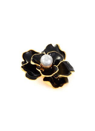 Detail View - Click To Enlarge - KENNETH JAY LANE - Enamel flower glass pearl brooch