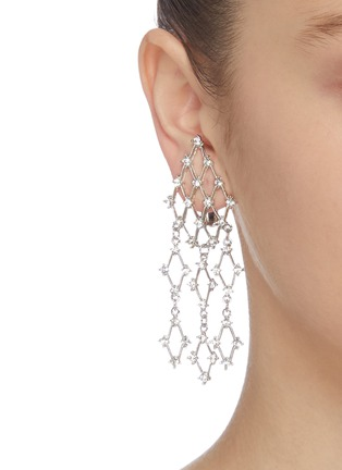 Figure View - Click To Enlarge - KENNETH JAY LANE - Glass crystal waterfall clip earrings