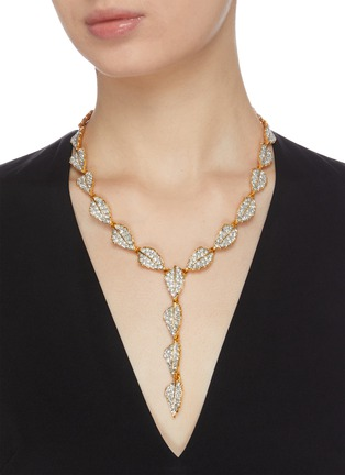 Figure View - Click To Enlarge - KENNETH JAY LANE - Leaf-shaped crystal necklace