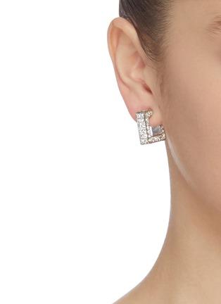 Figure View - Click To Enlarge - KENNETH JAY LANE - Crystal embellished square hoop earrings