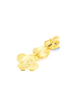 Detail View - Click To Enlarge - KENNETH JAY LANE - Crystal embellished enamel flower drop earrings