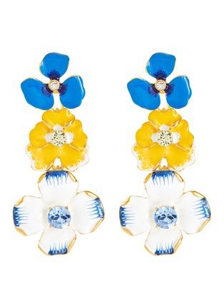 Main View - Click To Enlarge - KENNETH JAY LANE - Crystal embellished enamel flower drop earrings