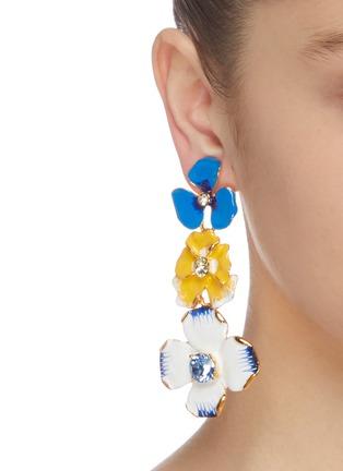 Figure View - Click To Enlarge - KENNETH JAY LANE - Crystal embellished enamel flower drop earrings