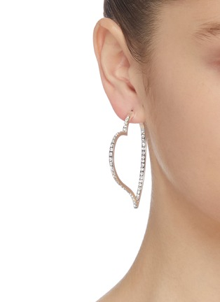Figure View - Click To Enlarge - KENNETH JAY LANE - Glass crystal heart shaped hoop earrings