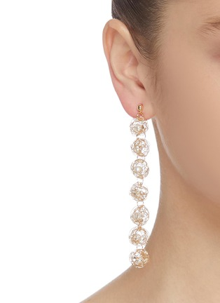 Figure View - Click To Enlarge - KENNETH JAY LANE - Wire shell glass pearl core link drop earrings