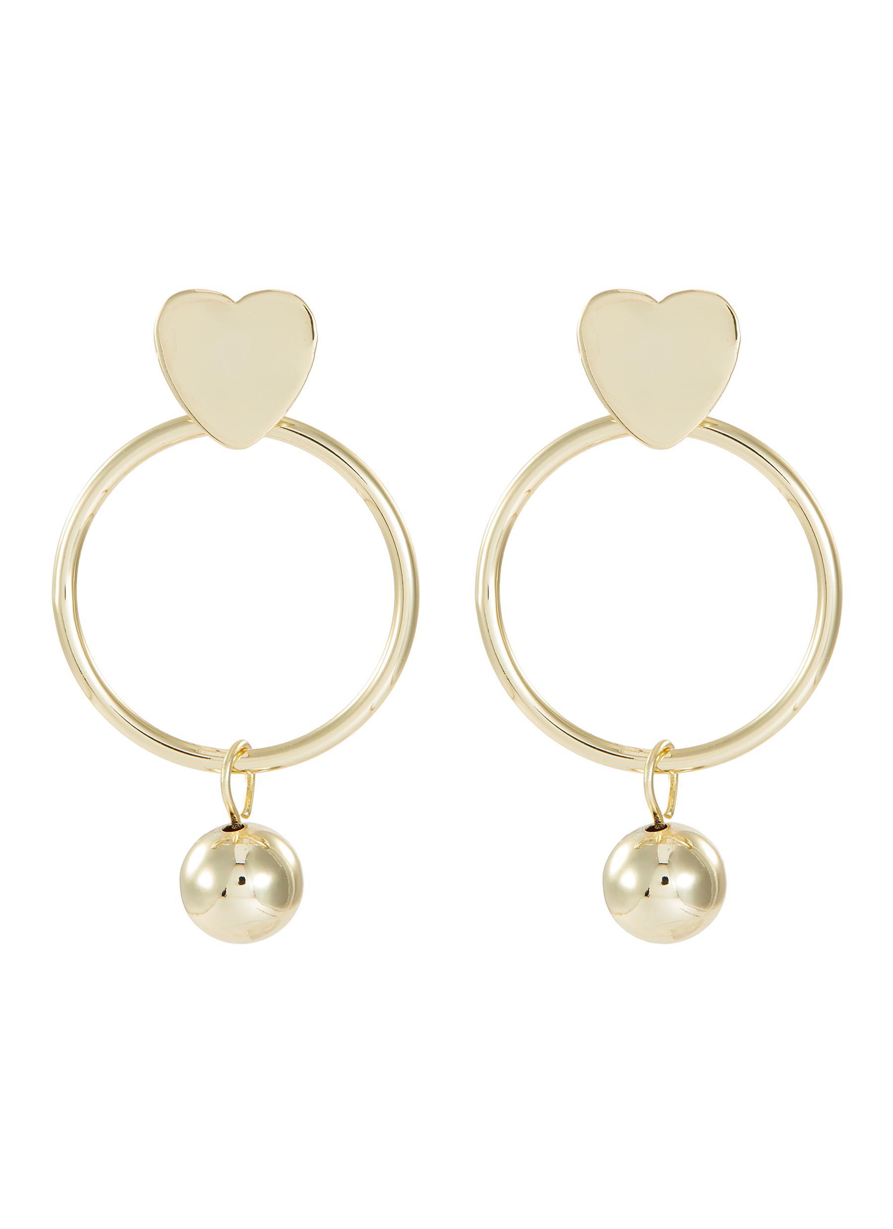 Kenneth Jay Lane Heart top hoop ball drop earrings