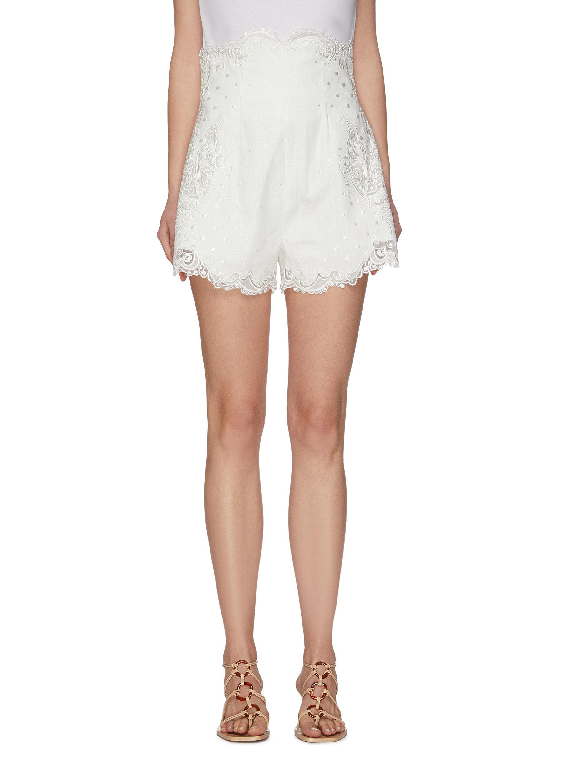 shop Zimmermann 'Super Eight' lace embroidered shorts online