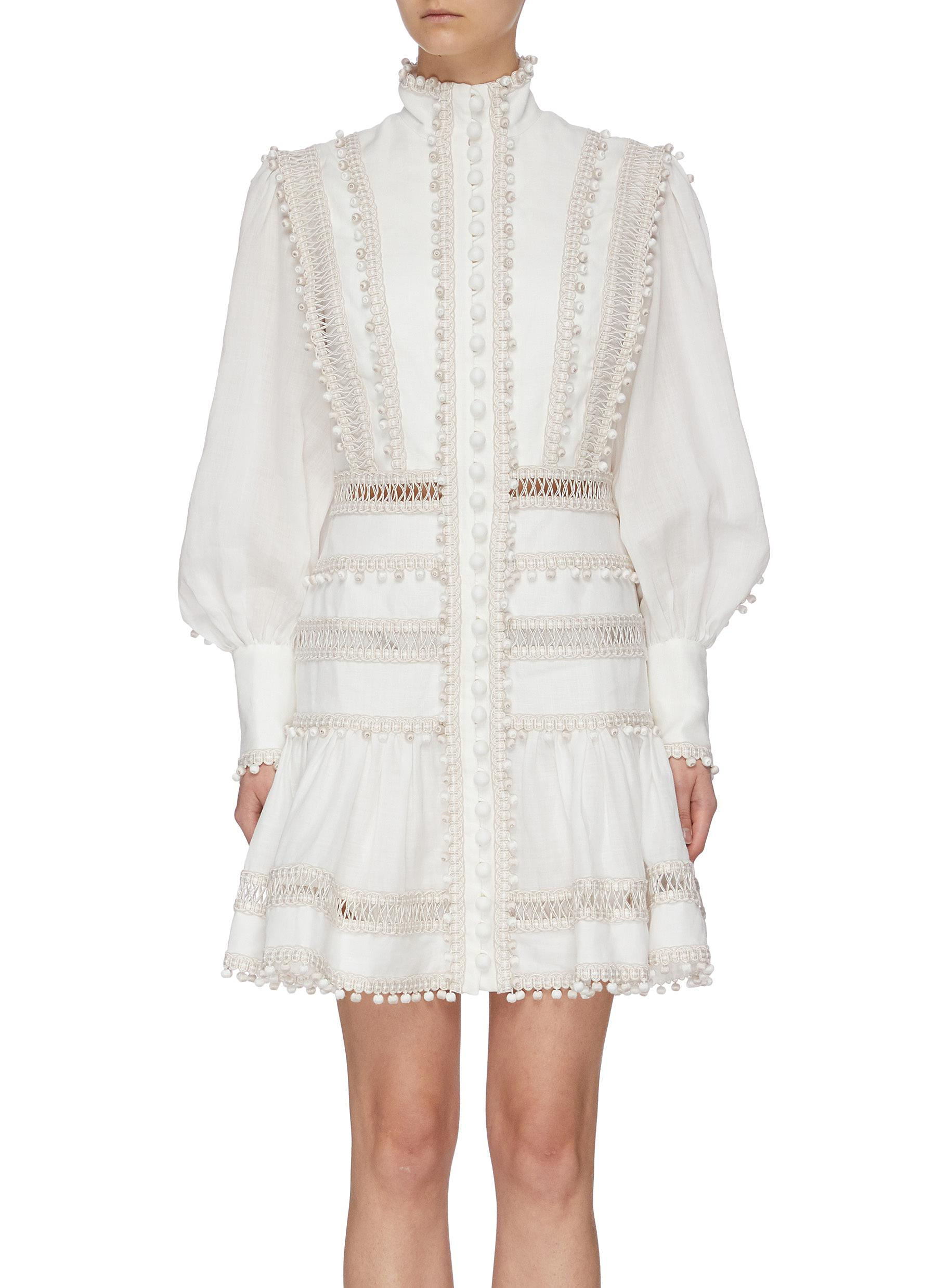 shop Zimmermann 'Super Eight' corded bishop sleeves ramie mini dress online
