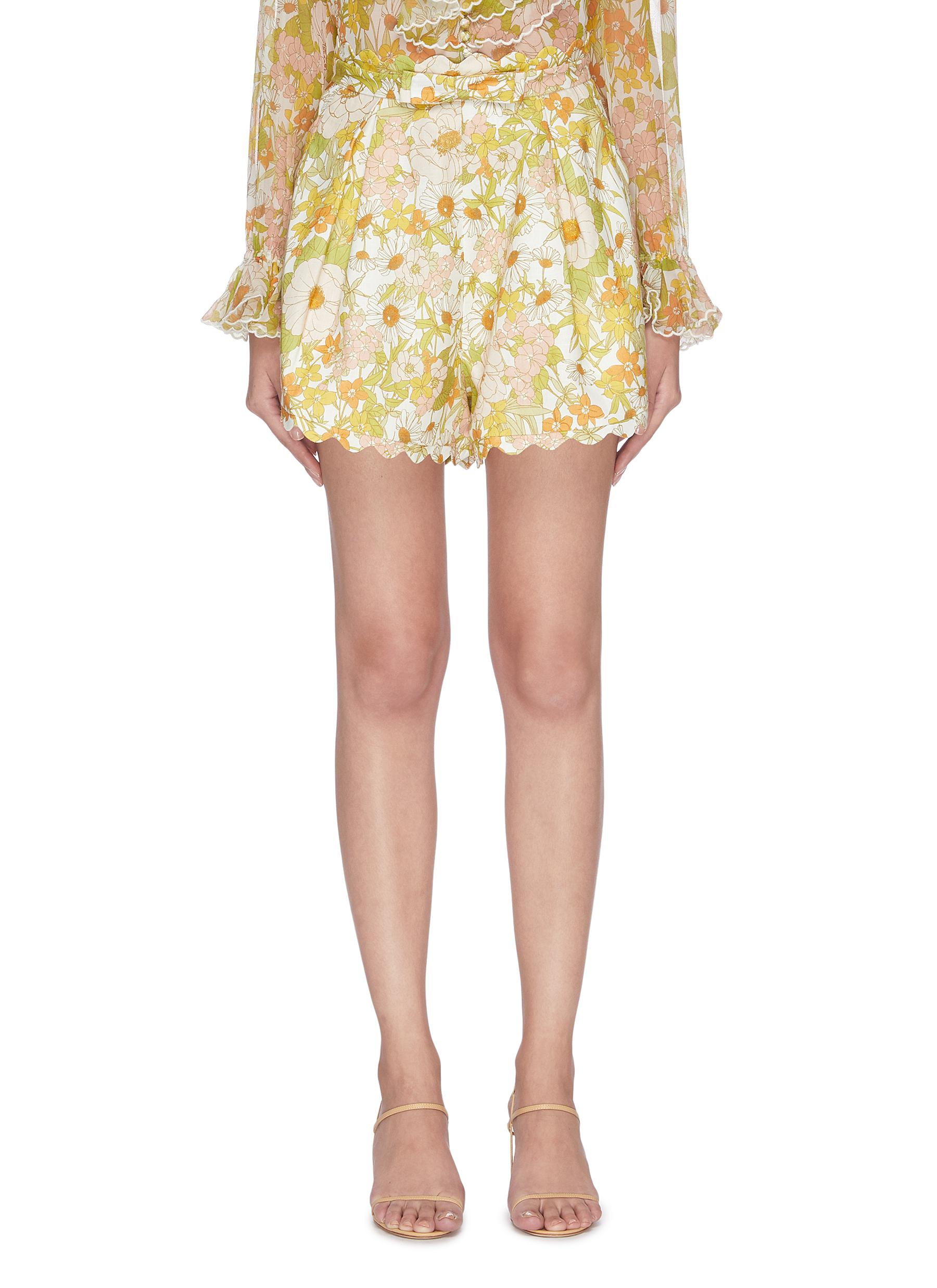 shop Zimmermann 'Super Eight' floral scallop shorts online