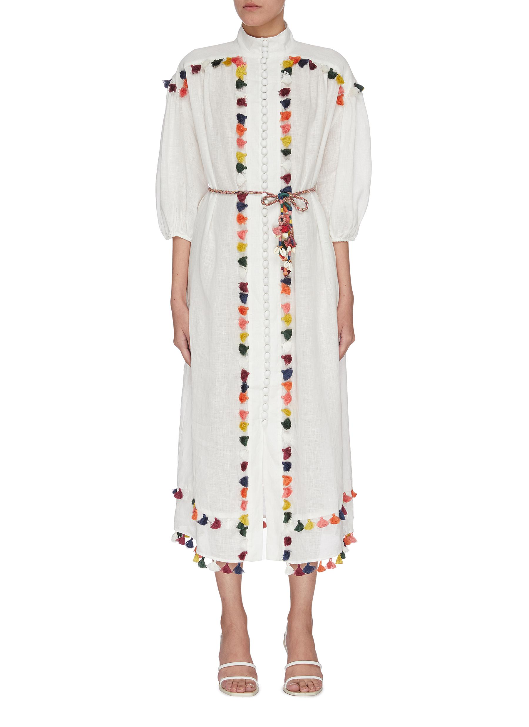 shop Zimmermann 'Edie' tassel trim mock neck dress online