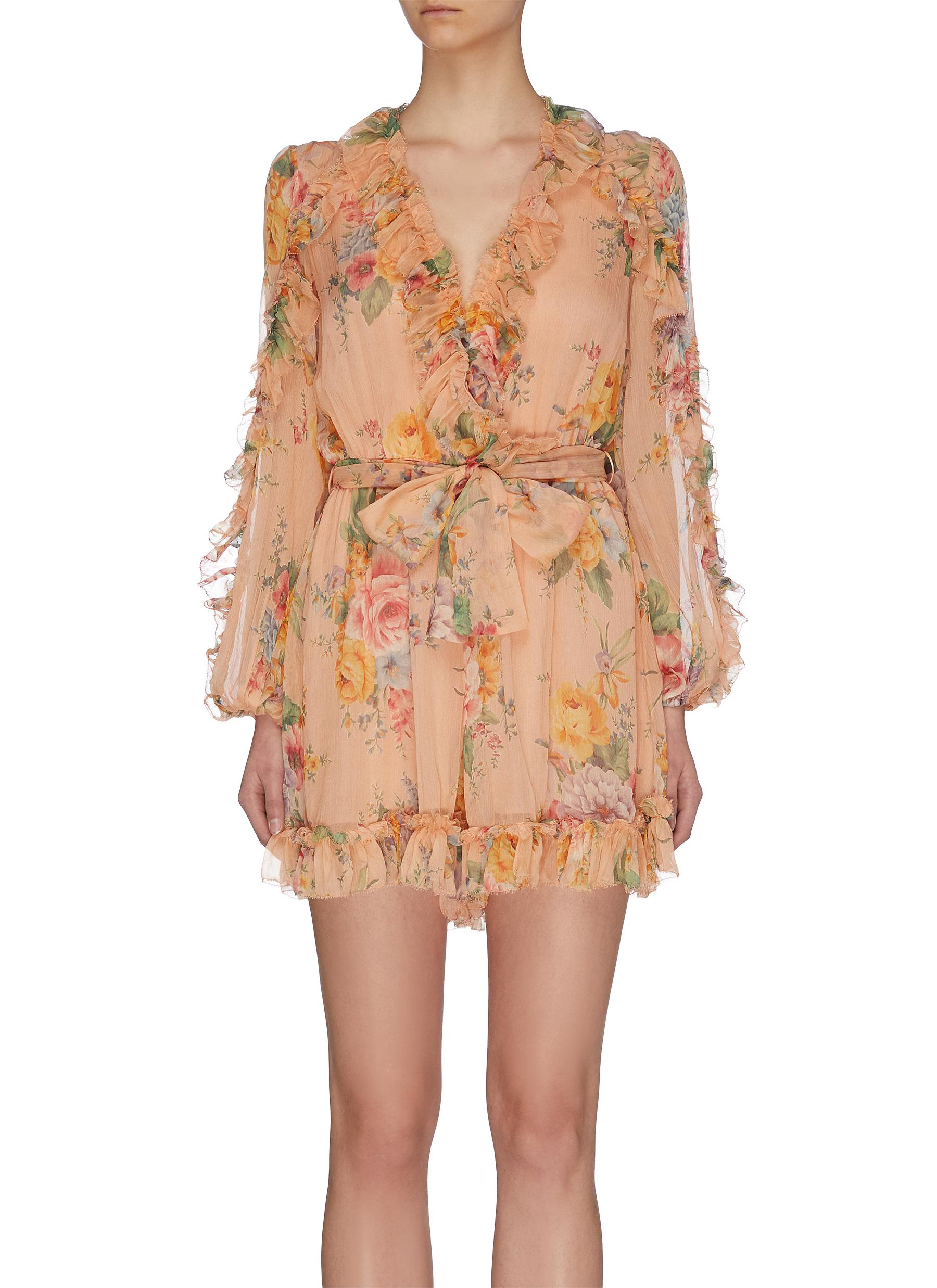 Buy Zimmermann Pants & Shorts 'Zinnia' plunge ruffle trim floral print playsuit