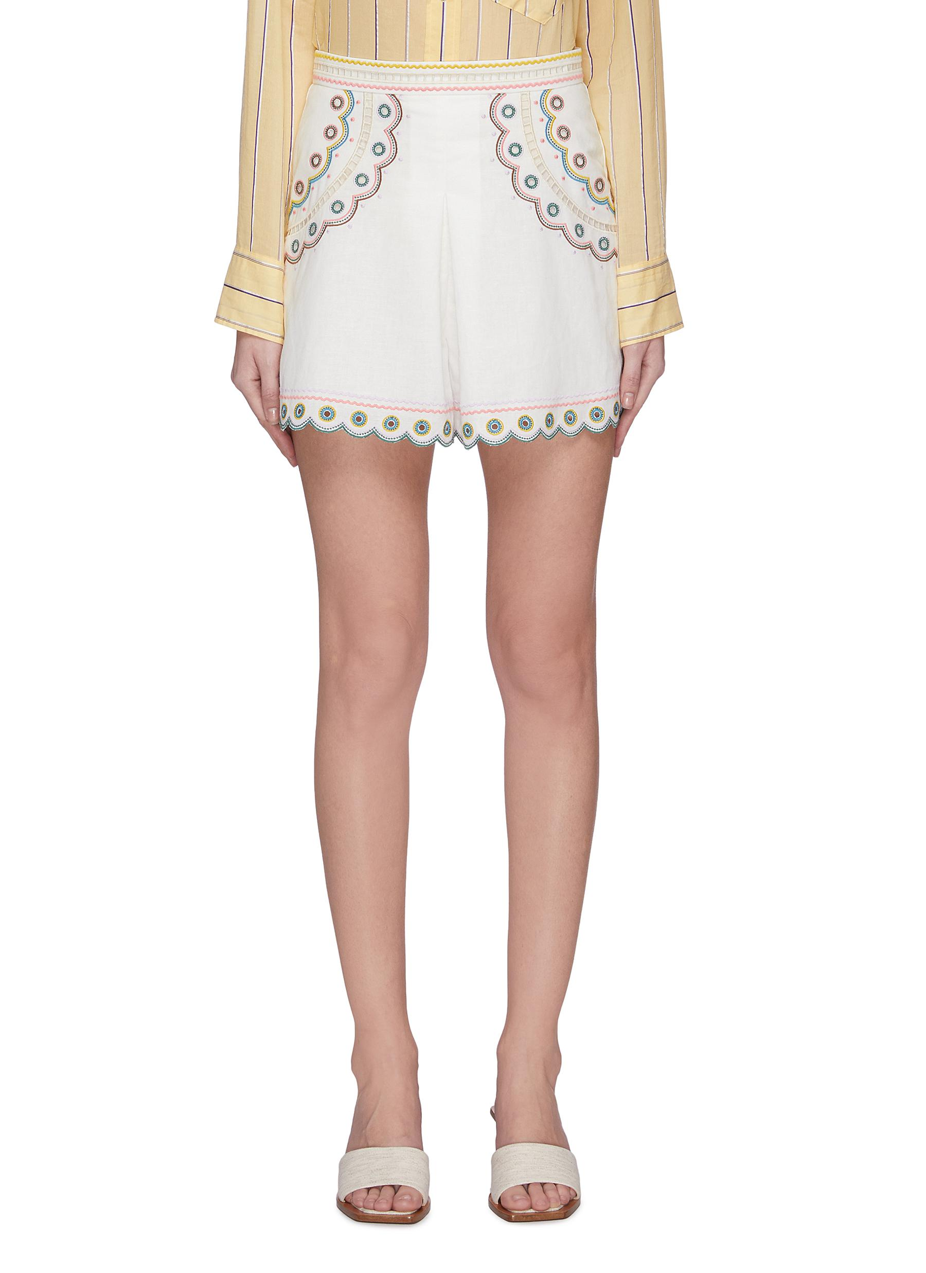 shop Zimmermann 'Peggy' graphic embroidered shorts online