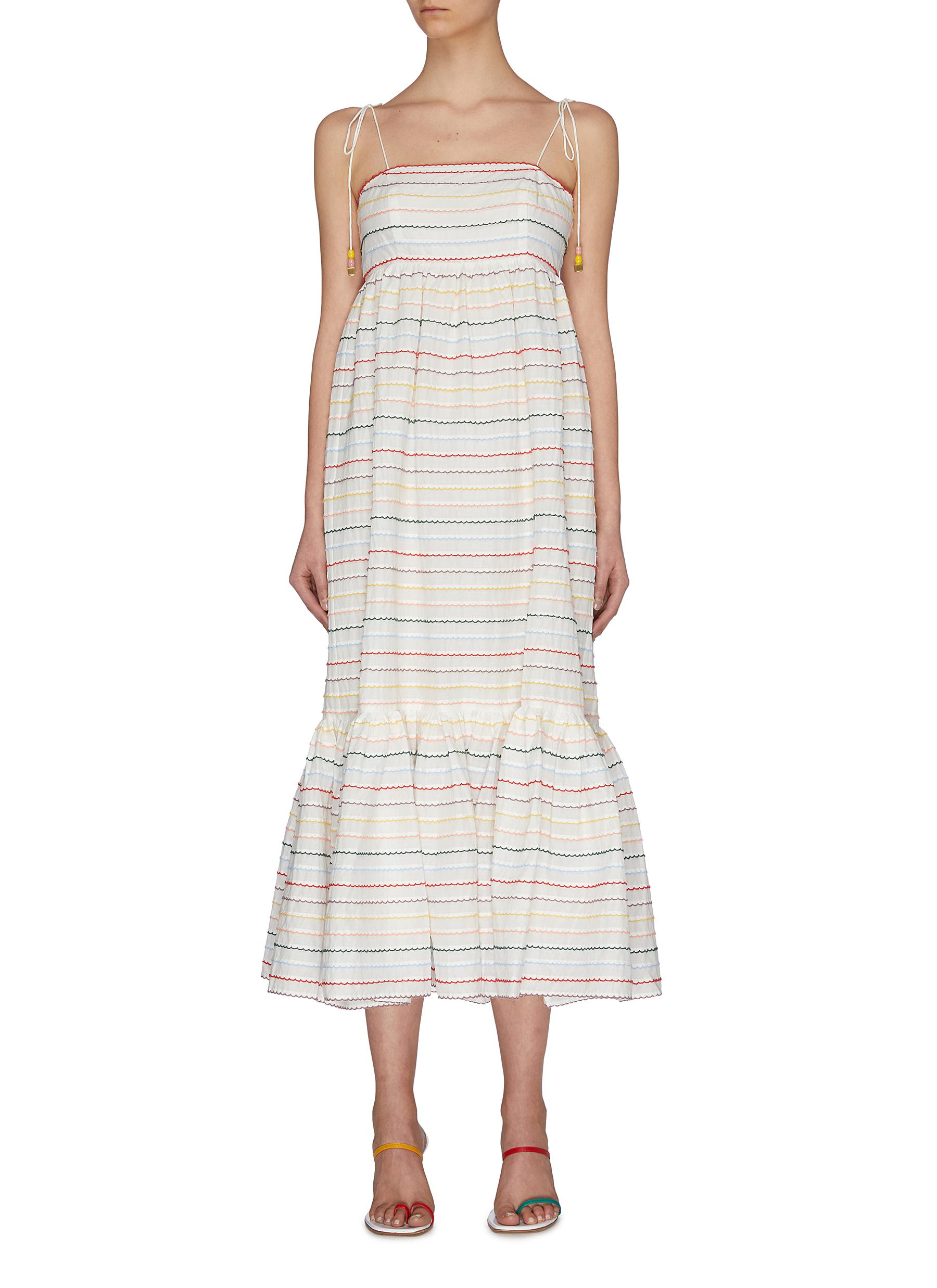 Buy Zimmermann Dresses 'Zinnia' stripe embroidered scallop sundress