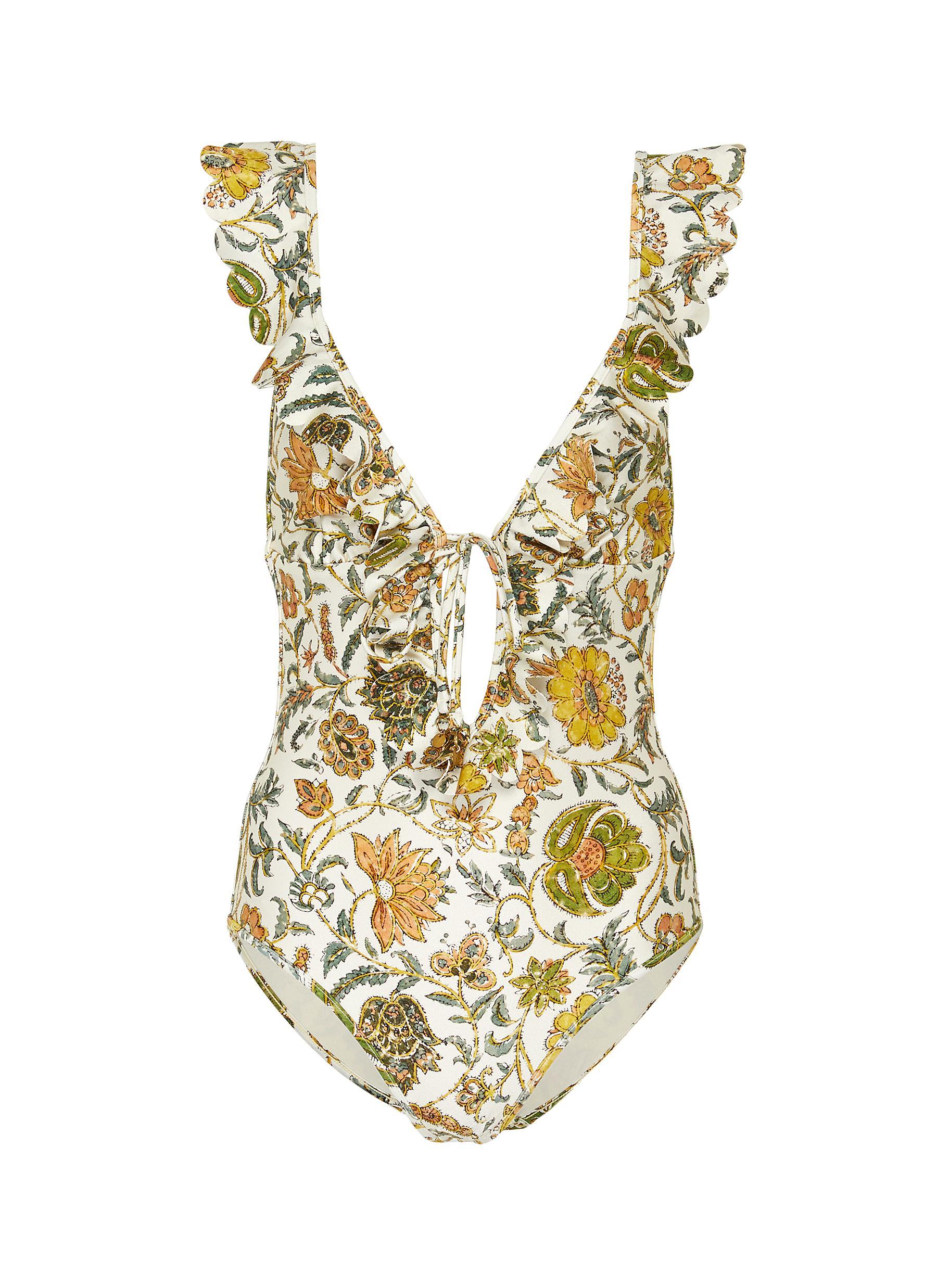 shop Zimmermann 'Edie' frill floral print swimsuit online
