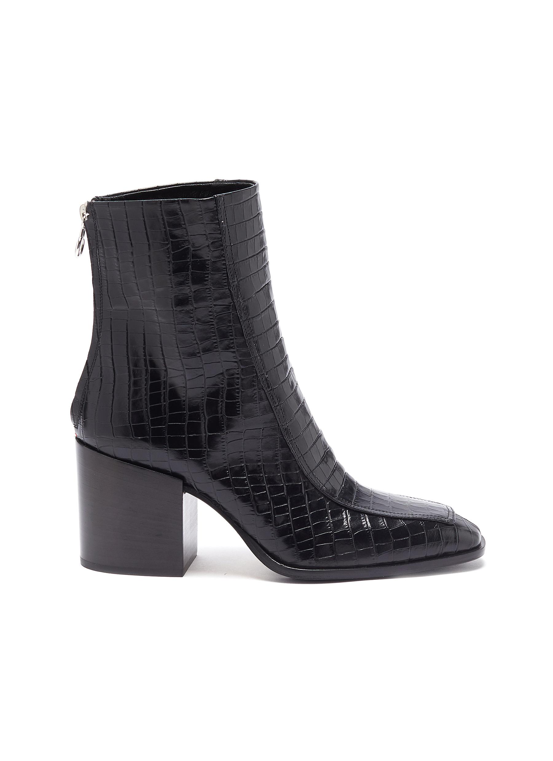 Aeyde Boots Lidia block heel croc embossed leather ankle boots