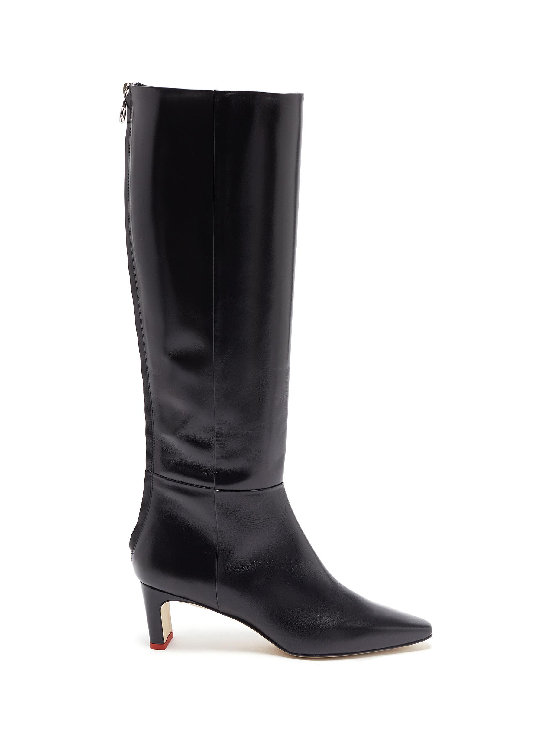 Aeyde Boots Sidney thin block heel calfskin leather knee high boots