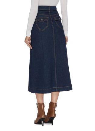 Back View - Click To Enlarge - ELLERY - 'Traffic' contrast stitch denim midi skirt
