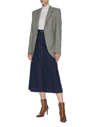 Figure View - Click To Enlarge - ELLERY - 'Traffic' contrast stitch denim midi skirt